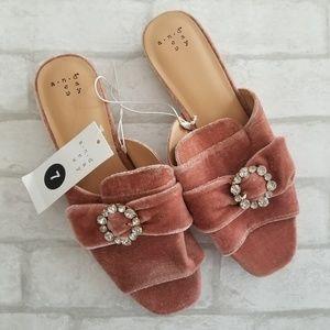 A New Day Velvet Slide Sandals Blush Pink 7M